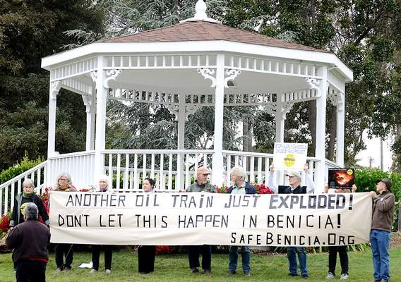 Another Oil Train Just Exploded - Heimdal ND.  Rally in City Park, Benicia CA, May 7, 2015