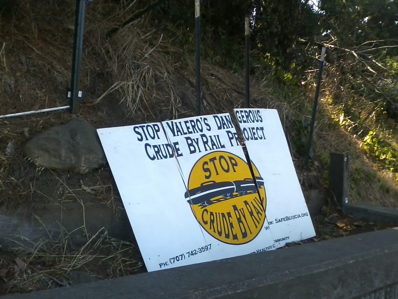 Vandalized large wooden sign, West Military and Southampton, Benicia CA